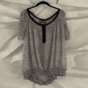 ZARA BASICS Boat Neck Star Loose & sheer blouse